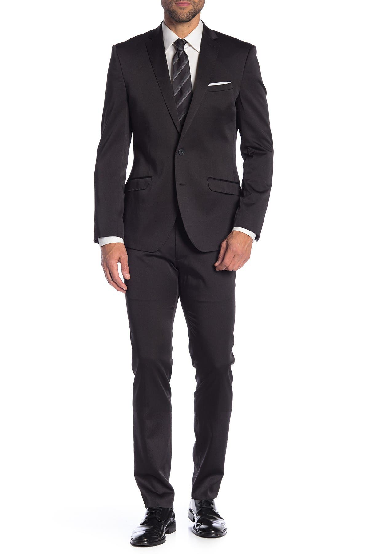 Image of Kenneth Cole Reaction Black Solid Two Button Notch Lapel Slim Fit Suit