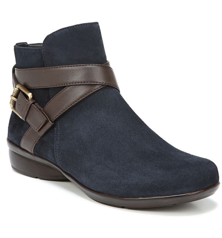 NATURALIZER Cassandra Buckle Strap Bootie, Main, color, NAVY/ BROWN SUEDE