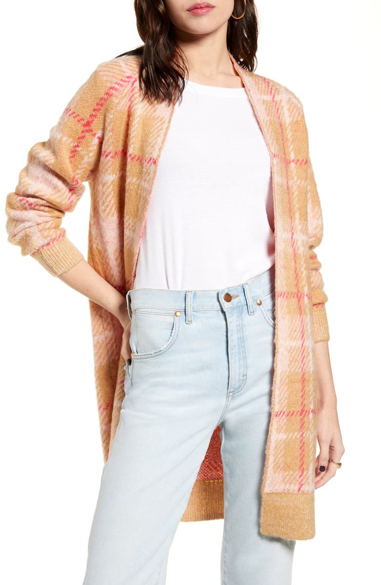 BP. Plaid Long Cardigan, Main, color, BEIGE NOUGAT DAPPER PLAID