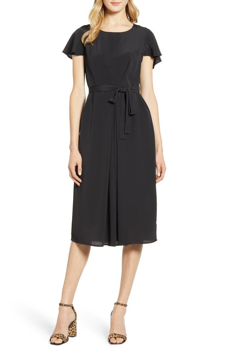 BOBEAU Pleated Woven Dress, Main, color, BLACK