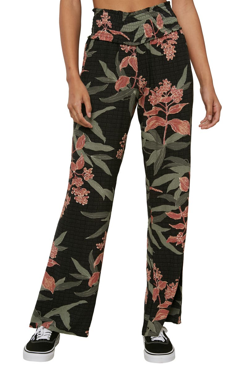 O'NEILL Johnny Floral Smock Waistband Pants, Main, color, BLACK