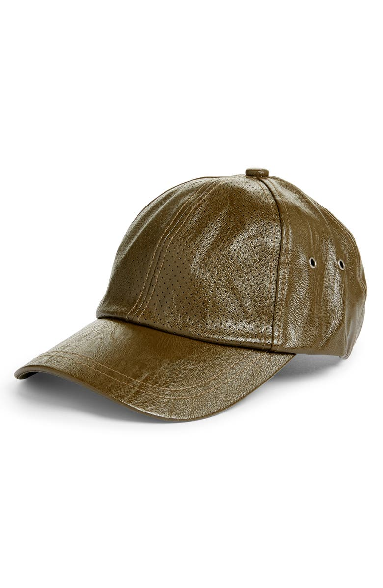 SWEAT ACTIVE Faux Leather Baseball Cap, Main, color, ARMY BROWN