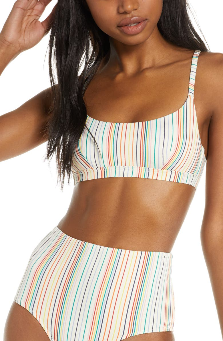 MADEWELL Second Wave Rainbow Stripe Sport Bikini Top, Main, color, 101