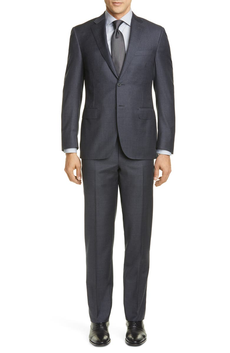 CANALI Sienna Soft Houndstooth Wool Suit, Main, color, GREY