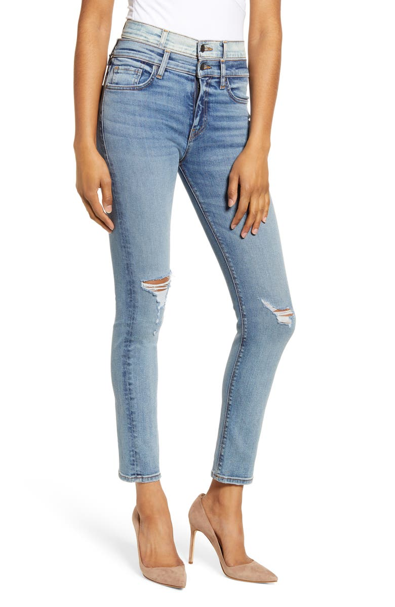 HUDSON JEANS Holly Double Waistband Ankle Skinny Jeans, Main, color, PROVOKING