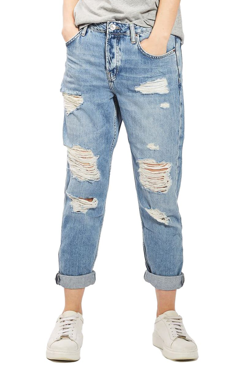 TOPSHOP Hayden Super Ripped Boyfriend Jeans, Main, color, 420