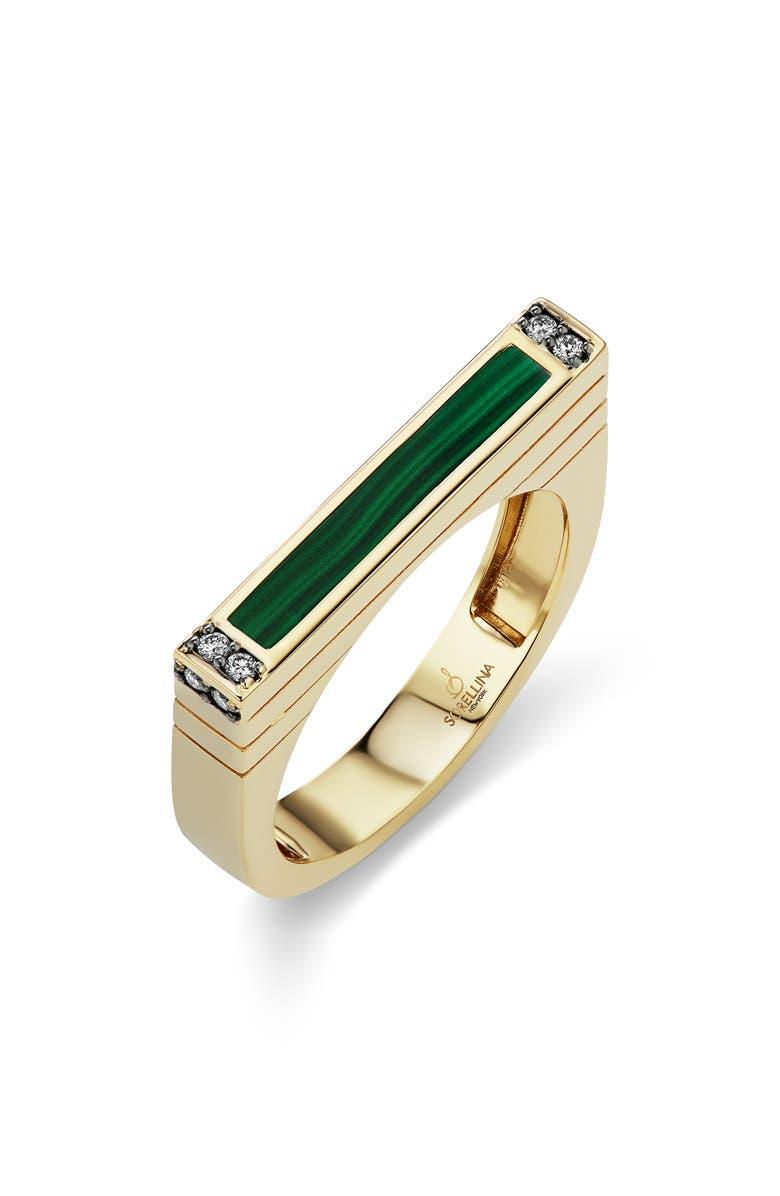 SORELLINA Stone & Diamond Stacking Ring, Main, color, MALACHITE