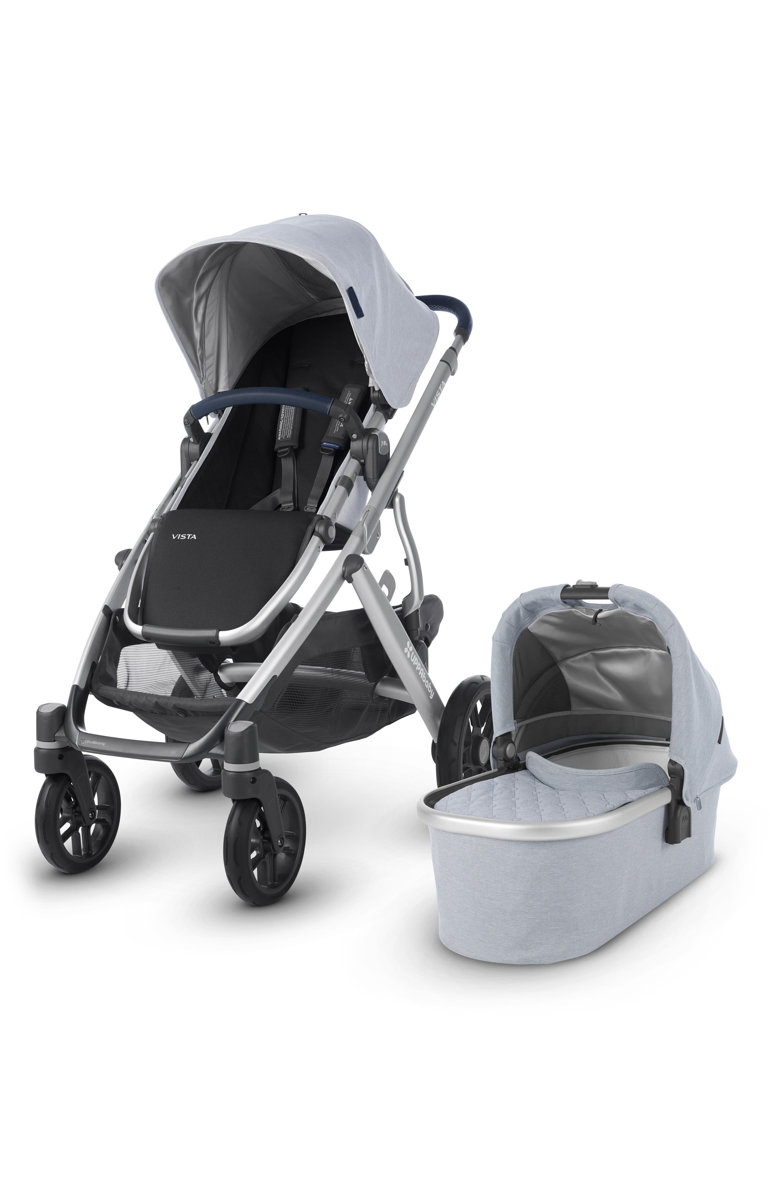 VISTA Aluminum Frame Convertible Complete Stroller with Leather Trim, Main, color, WILLIAM BLUE/ SILVER