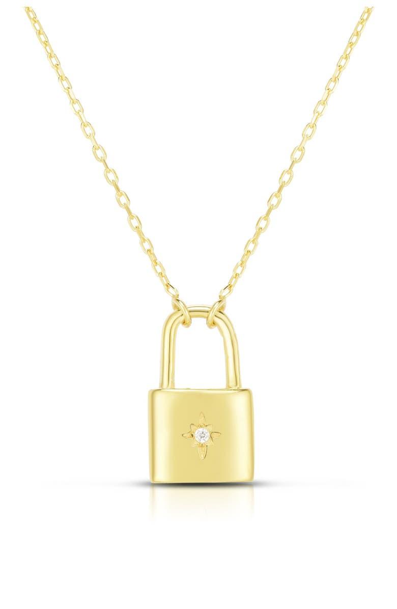 SPHERA MILANO 14K Gold Vermeil Mini Padlock Pentant Neckace, Main, color, YELLOW GOLD