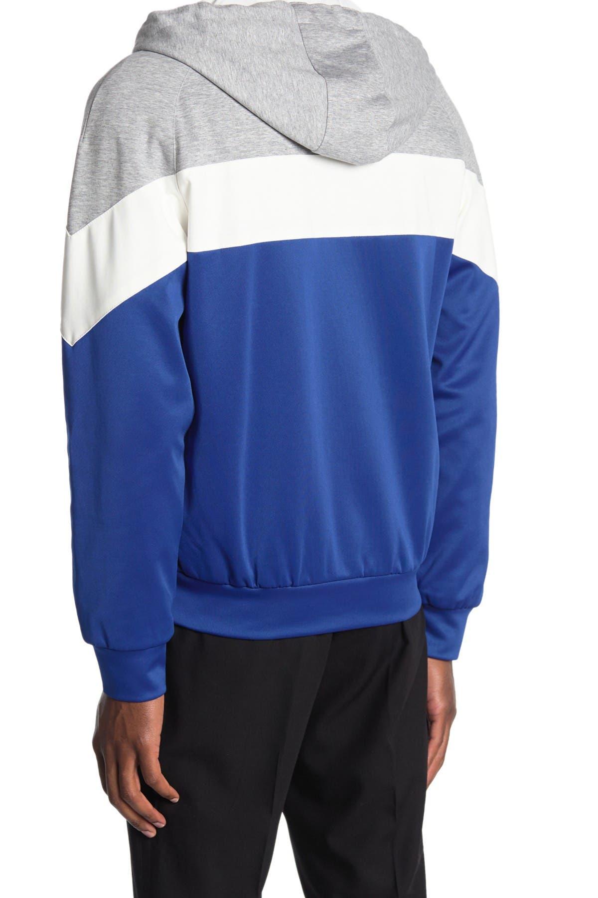 Image of Bugatchi Colorblock Full Zip Knit Hoodie Jacket