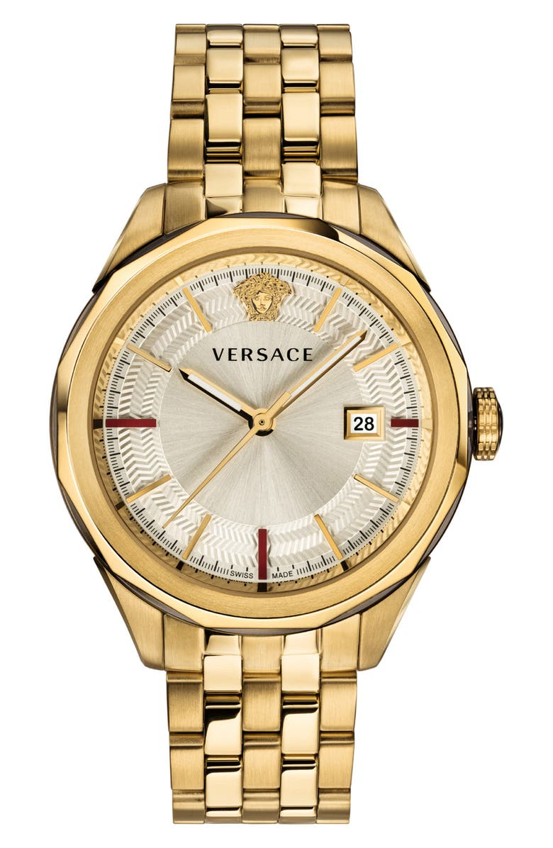 VERSACE Glaze Bracelet Watch, 43mm, Main, color, GOLD/ SILVER