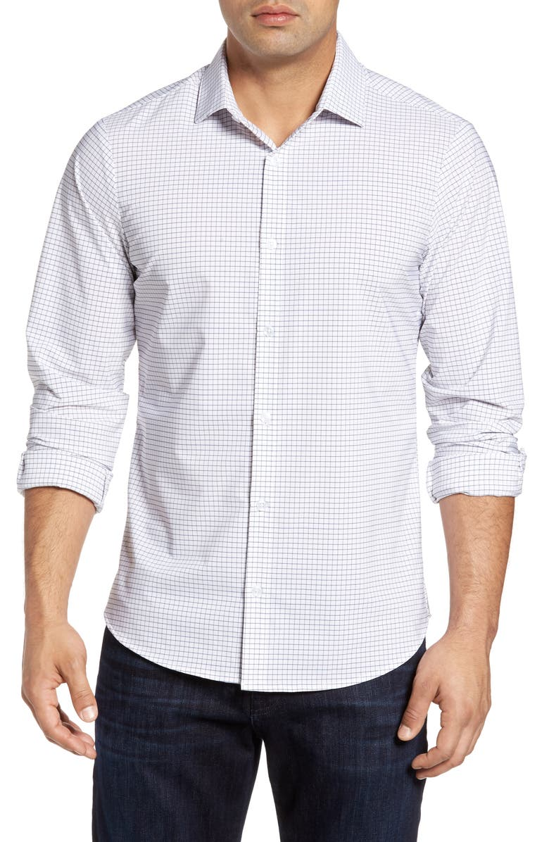 MIZZEN+MAIN Kennedy Trim Fit Windowpane Shirt, Main, color, WHITE
