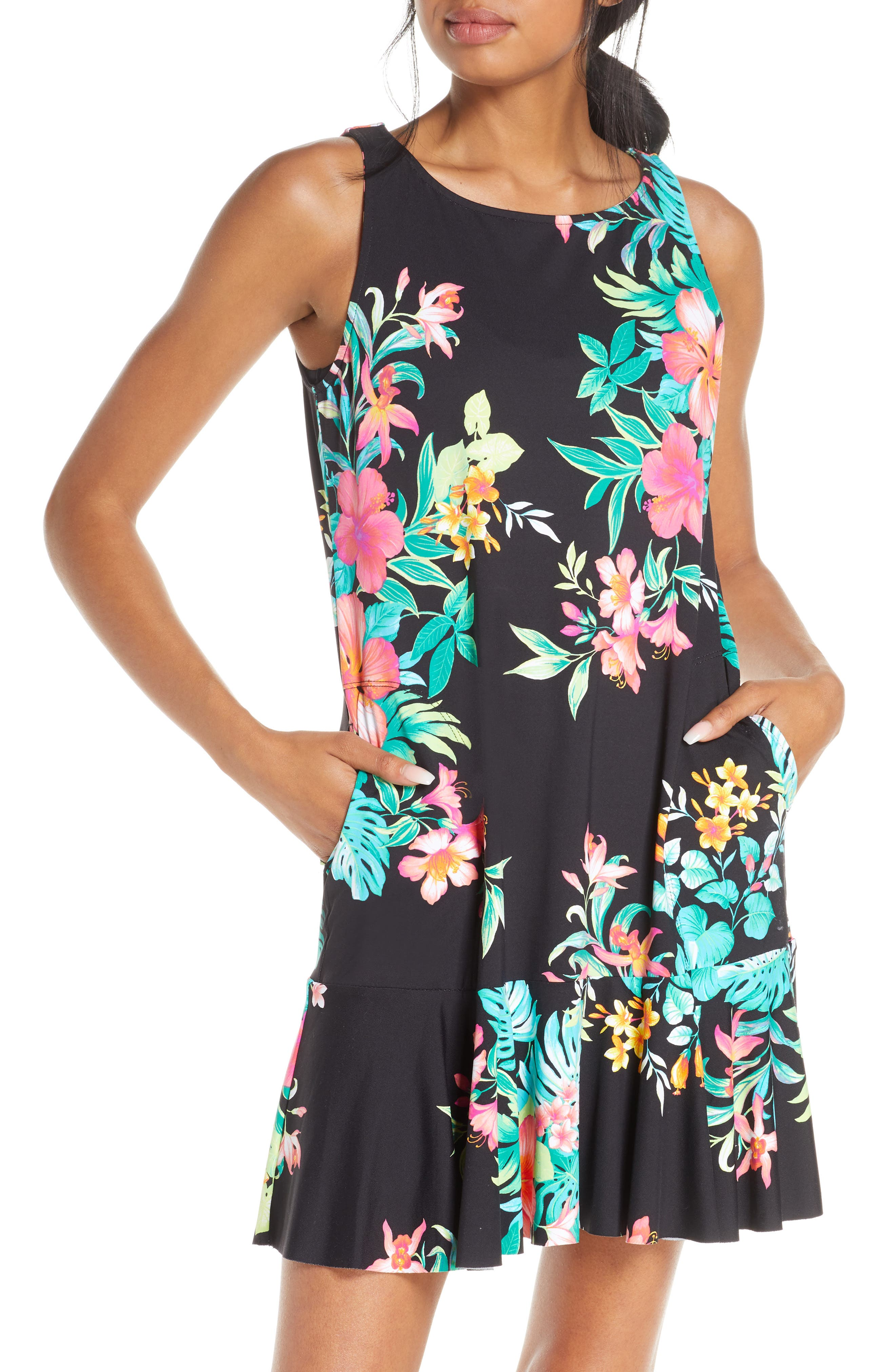 Tommy Bahama Fleur De Flora Cover-Up Dress, Black
