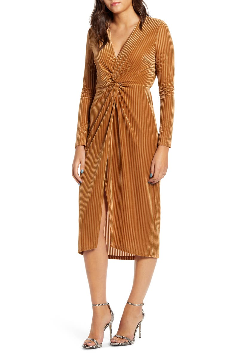 ALL IN FAVOR Knot Long Sleeve Velvet Rib Midi Dress, Main, color, GOLD