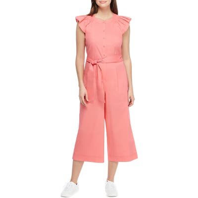 Petite Gal Meets Glam Collection Saffron Flutter Sleeve Crop Jumpsuit, Pink