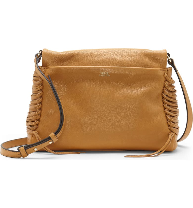 VINCE CAMUTO Jayde Leather Crossbody Bag, Main, color, CREAMY CARAMEL