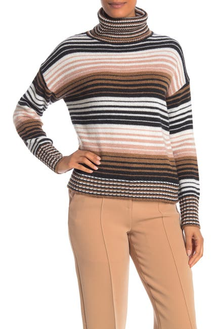 Image of 360 Cashmere Nadia Striped Wool & Cashmere Turtleneck Sweater