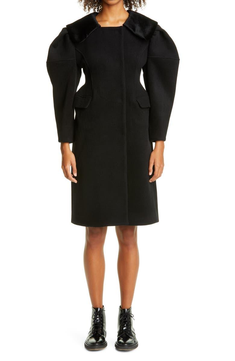 SHUSHU/TONG Fitted Waist Wool Coat, Main, color, BLACK