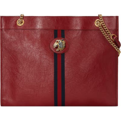 Gucci Large Leather Tote - Red