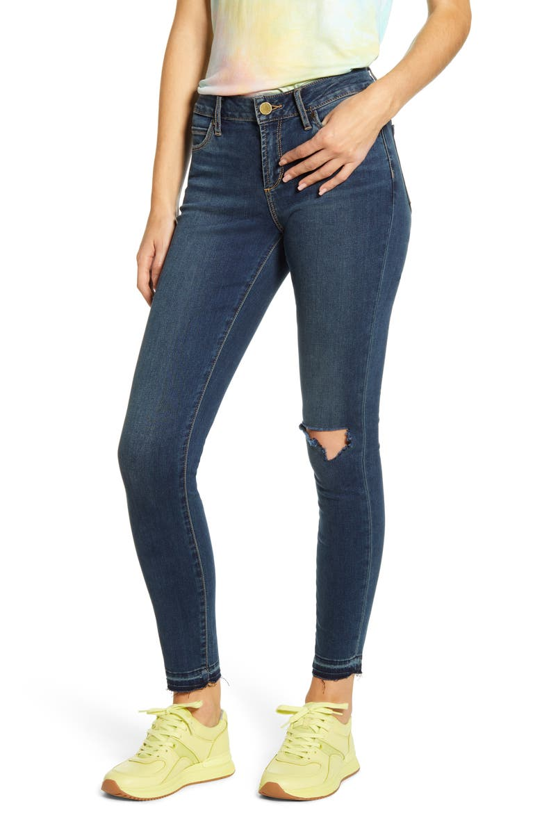 ARTICLES OF SOCIETY Sarah Ripped Release Hem Skinny Jeans, Main, color, 400