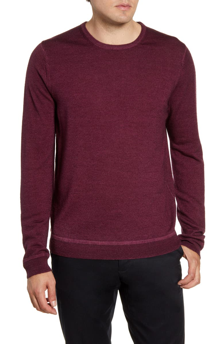 NORDSTROM SIGNATURE Merino Wool Crewneck Sweater, Main, color, BURGUNDY ROYALE