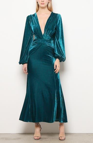 Long Sleeve Velvet Gown, video thumbnail