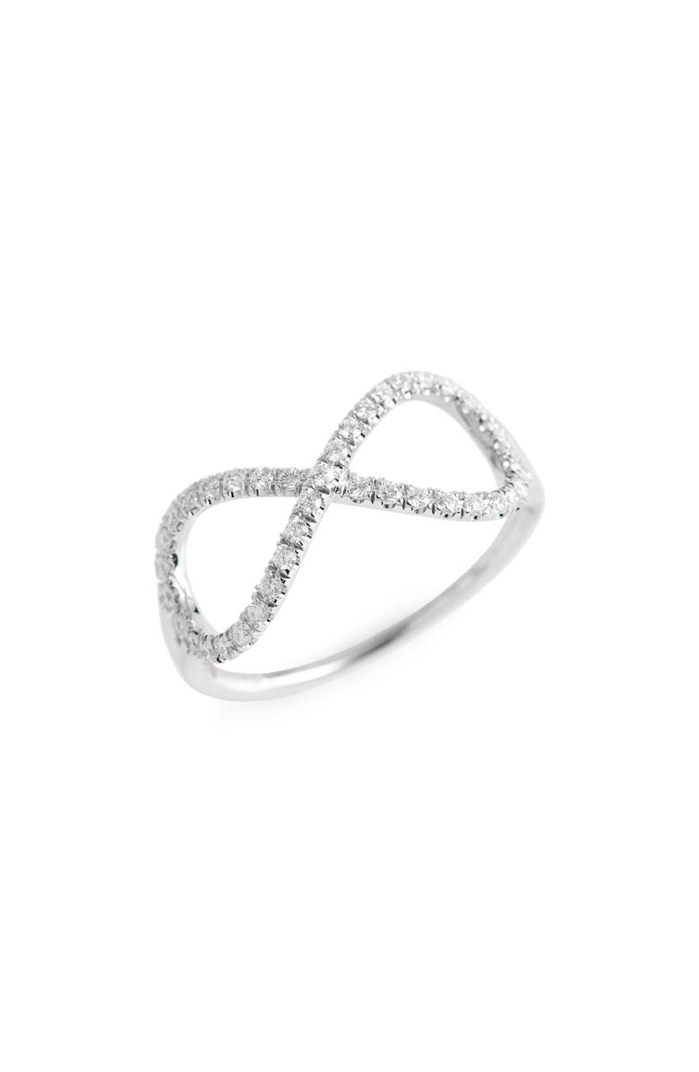 ROBERTO COIN Diamond Infinity Ring, Main, color, WHITE GOLD