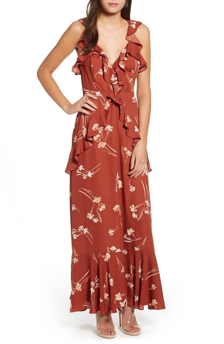 ASTR THE LABEL Sleeveless Ruffle Maxi Dress, Main, color, 200