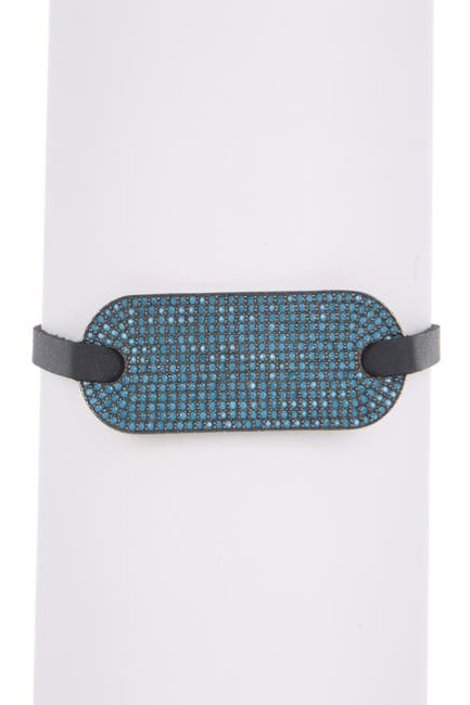 Image of Forever Creations USA Inc. Sterling Silver Turquoise & Leather Bracelet