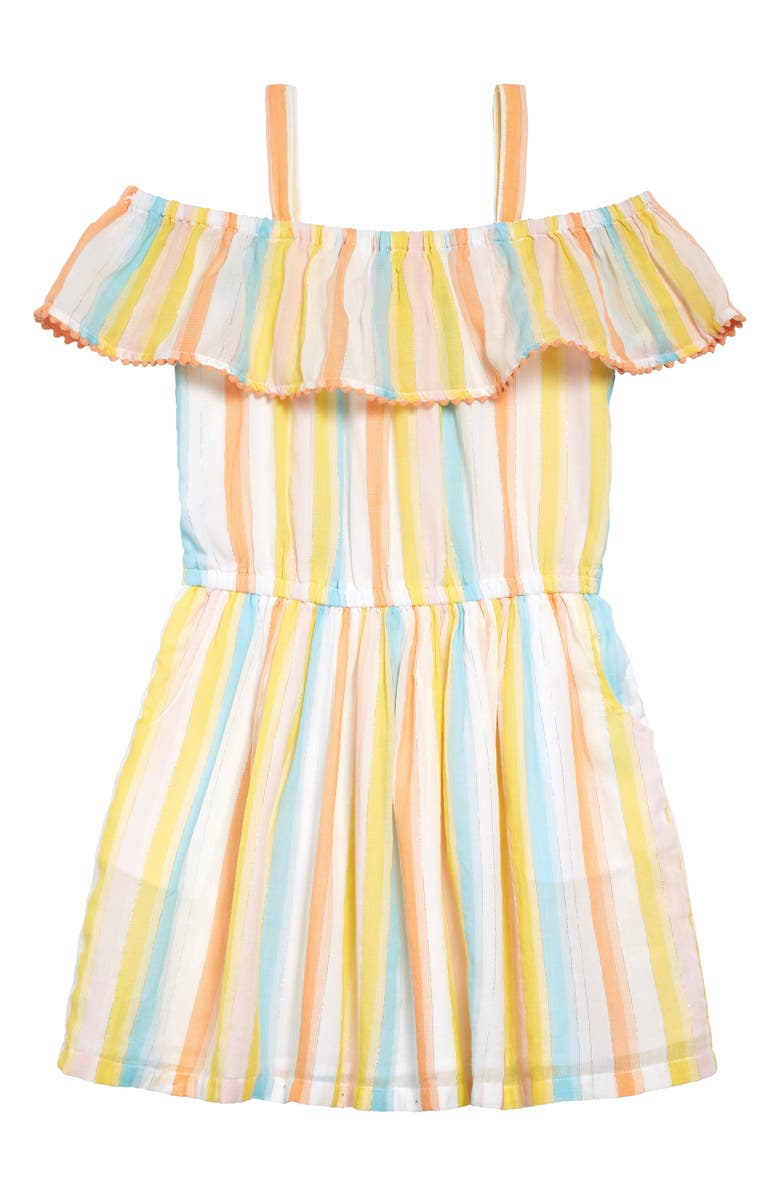 TUCKER + TATE Horizon Ruffle Cold Shoulder Sundress, Main, color, WHITE MULTI SPARKLE STRIPE