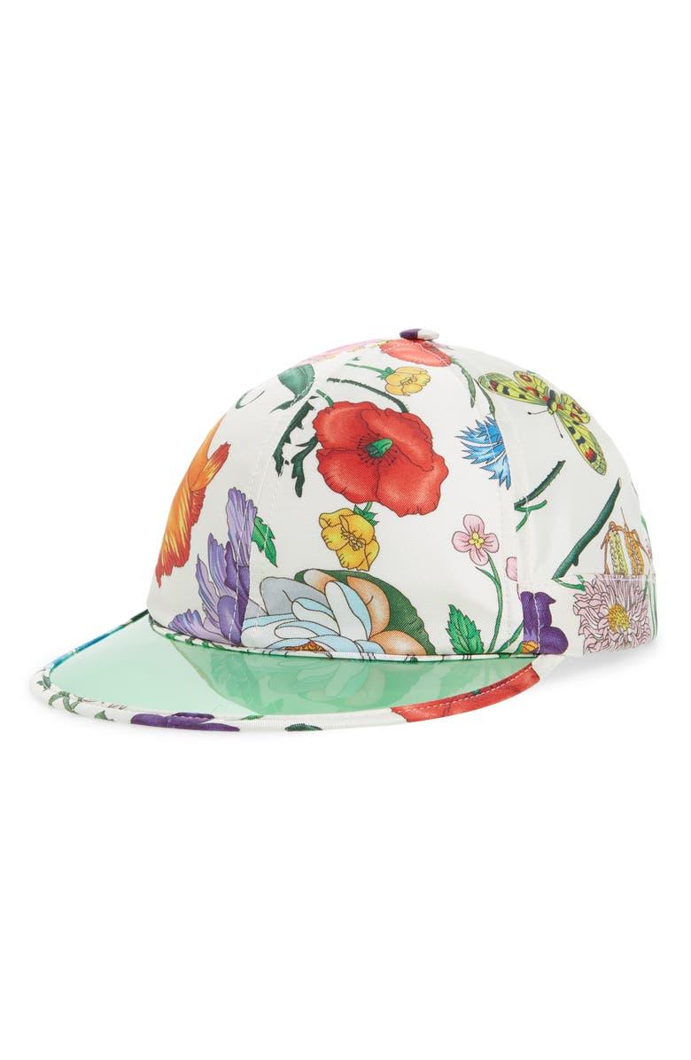 GUCCI Clear Brim Silk Baseball Cap, Main, color, WHITE/ LIGHT GREEN