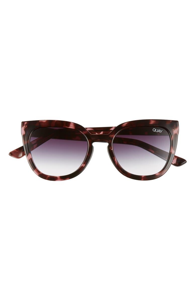 QUAY AUSTRALIA Noosa 55mm Cat Eye Sunglasses, Main, color, PURPLE TORTOISE/ BLACK FADE