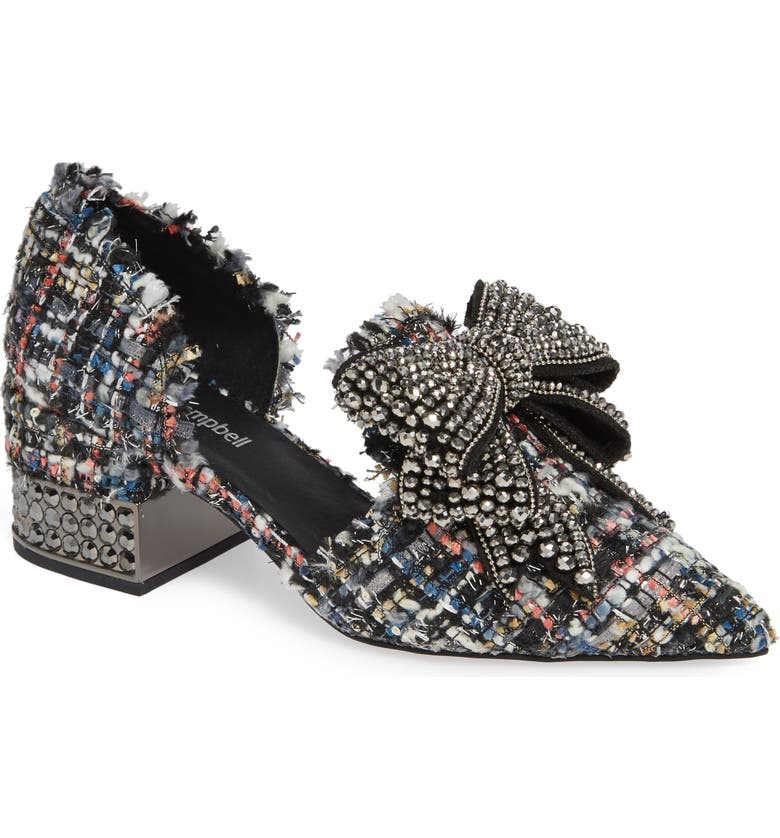JEFFREY CAMPBELL Valenti Embellished Bow Loafer, Main, color, BLACK MULTI TWEED PEWTER