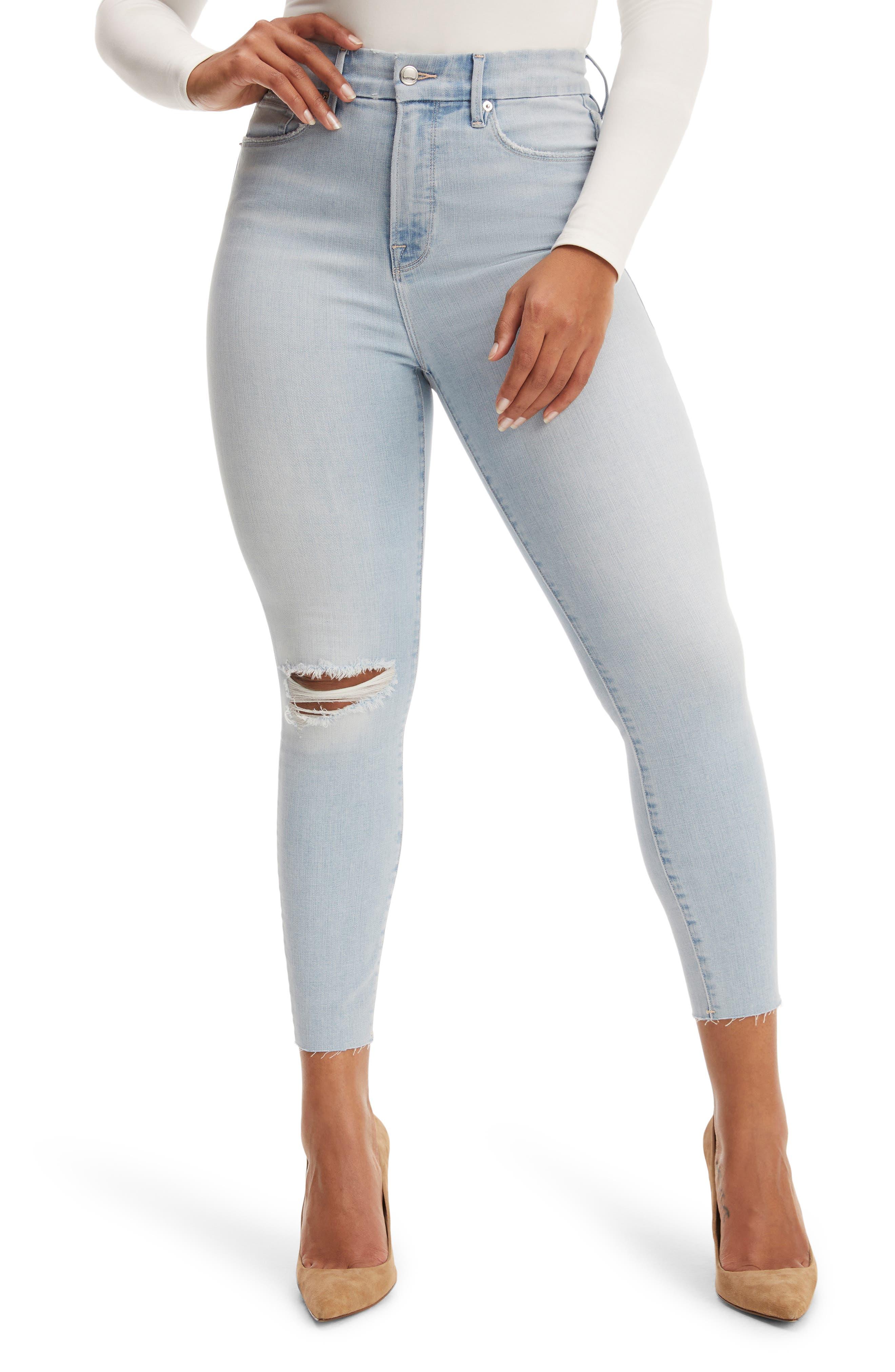 Plus Women's Good American Good Waist Crop Raw Edge Skinny Jeans