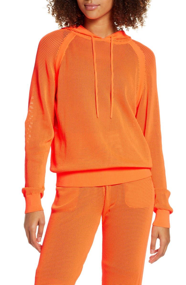 ADAM SELMAN SPORT Knit Mesh Hoodie, Main, color, HAZARD