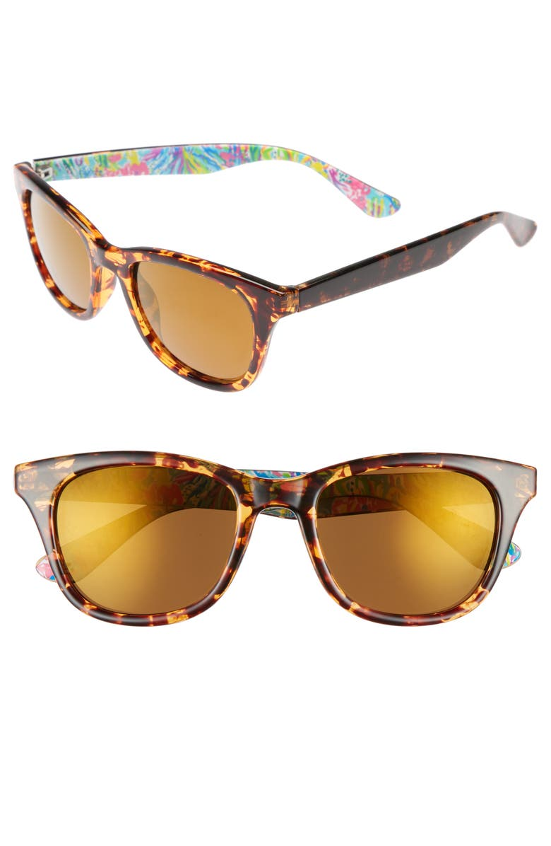 LILLY PULITZER<SUP>®</SUP> Maddie 52mm Polarized Mirrored Sunglasses, Main, color, 200