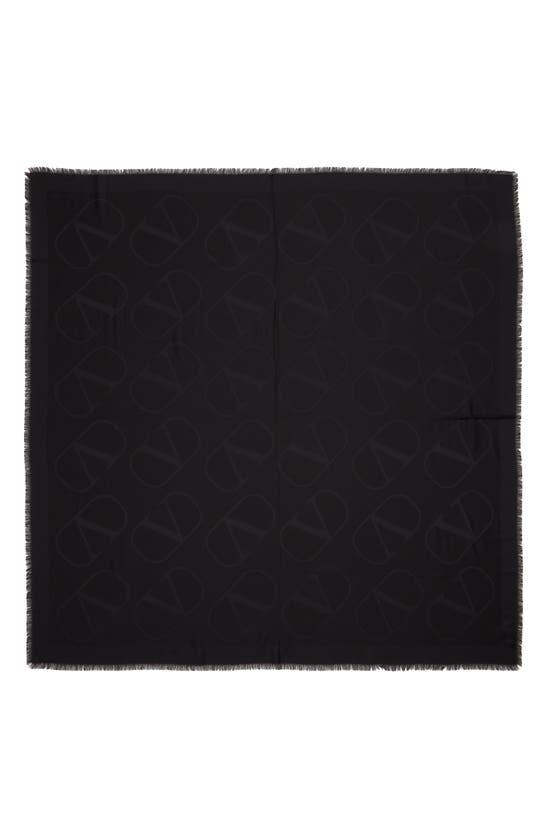 Valentino Garavani Vlogo Jacquard Silk & Wool Scarf In Black