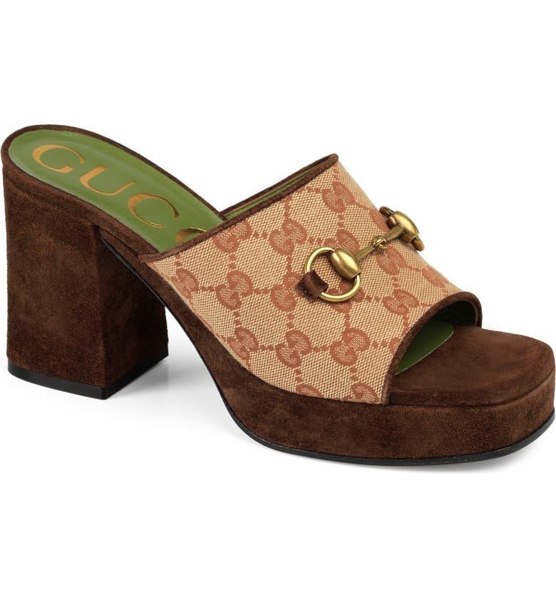 GUCCI Houdan Original GG Platform Slide Sandal, Main, color, BEIGE
