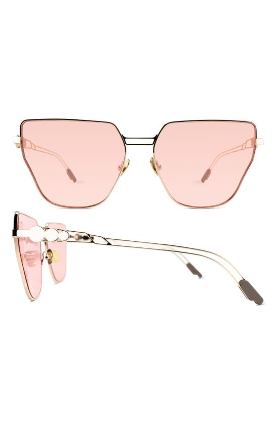 Coco And Breezy Sharita 63mm Oversize Hexagon Sunglasses In Gold/rose