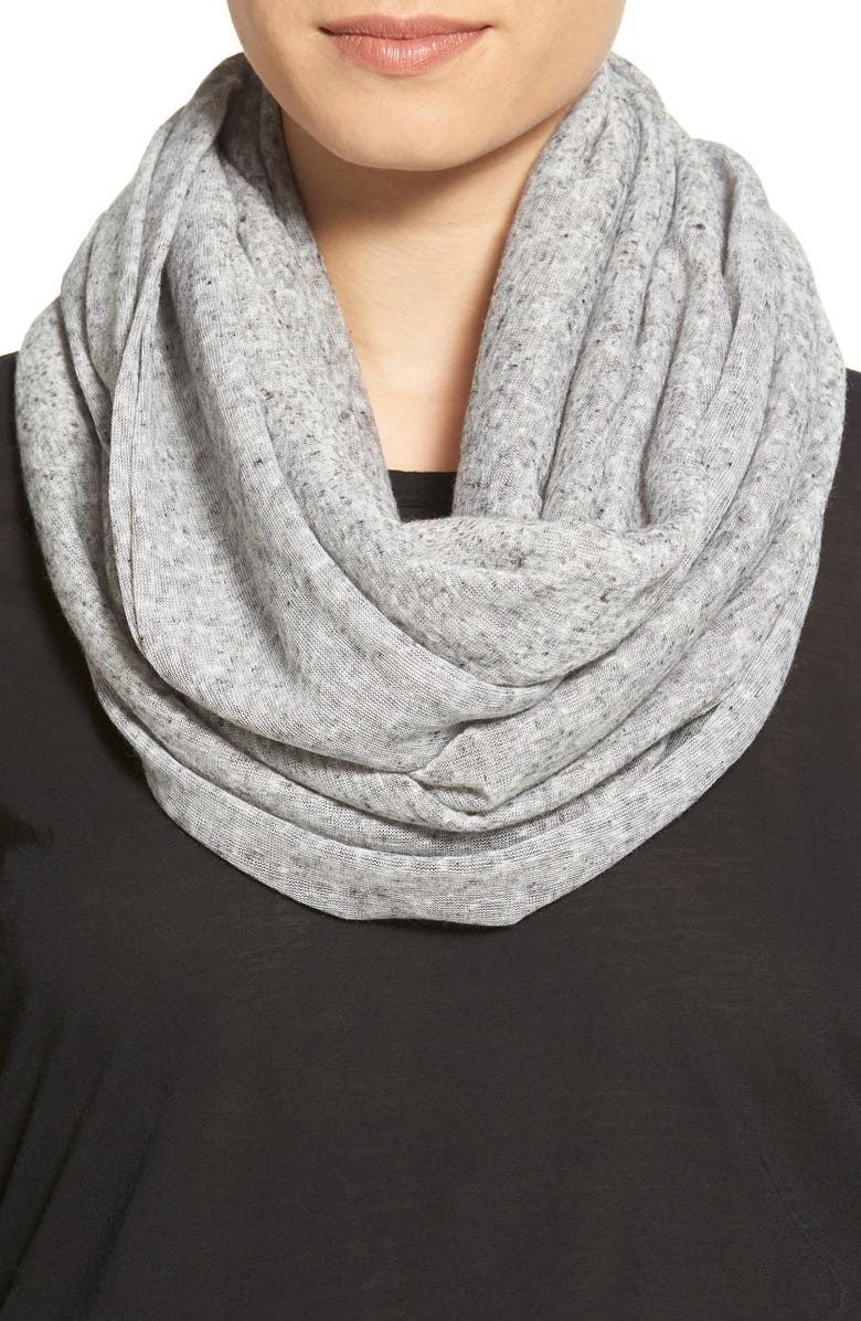 BCBGENERATION Speckled Knit Infinity Scarf, Main, color, 001