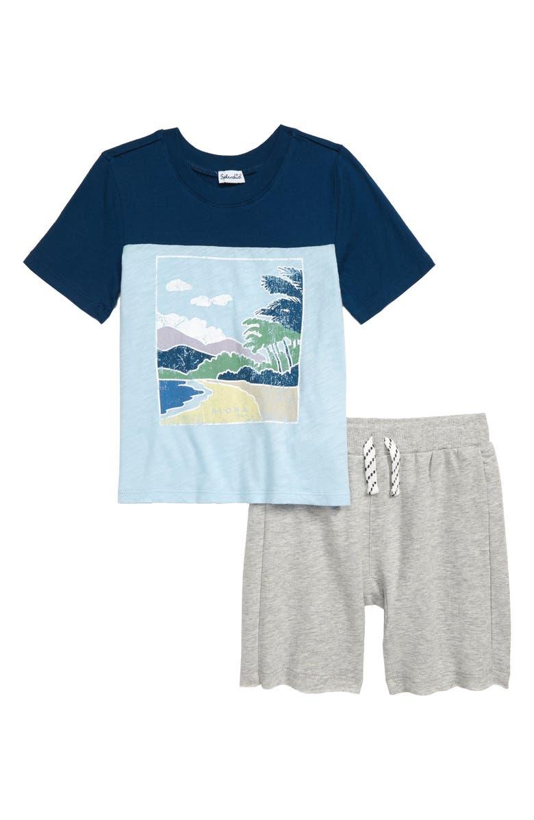 SPLENDID Beachfront Graphic T-Shirt & Shorts Set, Main, color, TAHOE BLUE