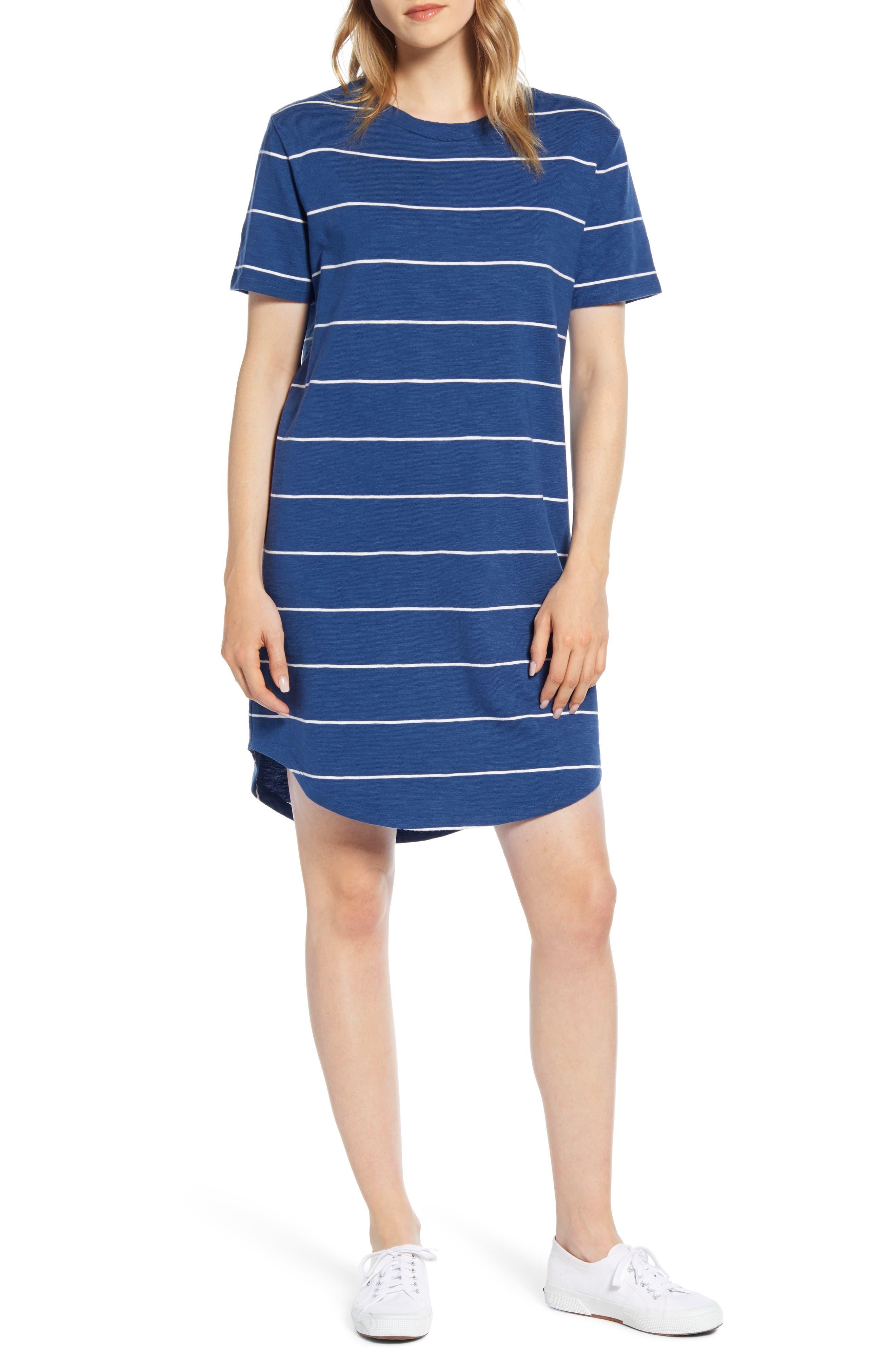 Lou & Grey Stripe Cozy Jersey T-Shirt Dress, Blue