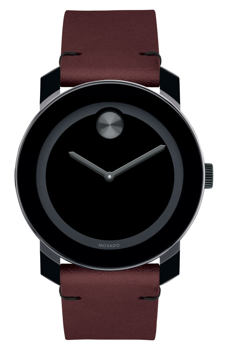 MOVADO Bold Leather Strap Watch, 42mm, Main, color, RED/ BLACK