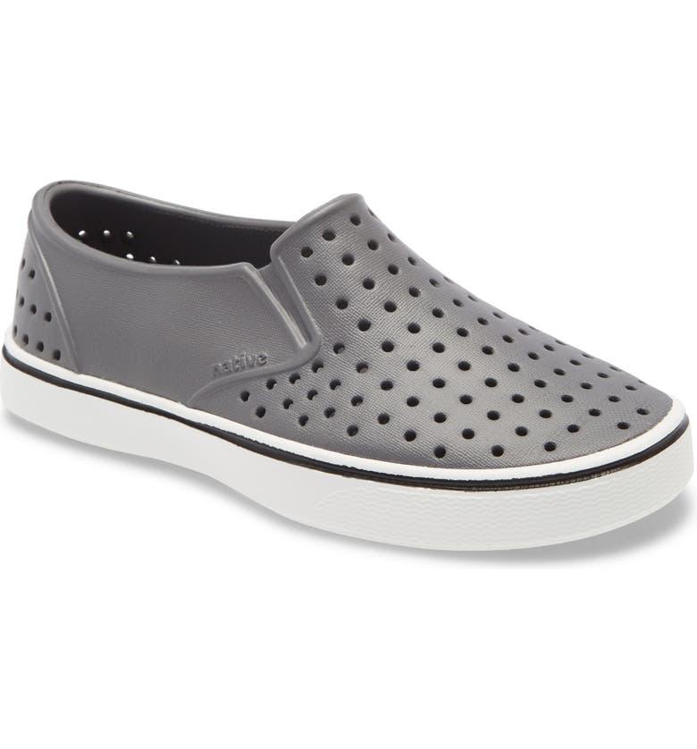 NATIVE SHOES Miles Water Friendly Slip-On Vegan Sneaker, Main, color, DUBLIN GREY/ SHELL WHITE