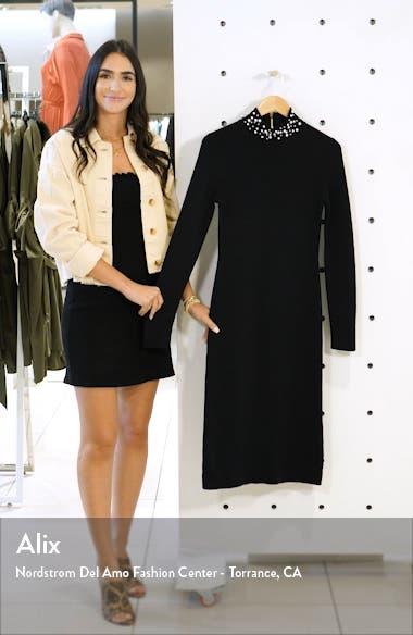 Imitation Pearl Neckline Long Sleeve Sweater Dress, sales video thumbnail