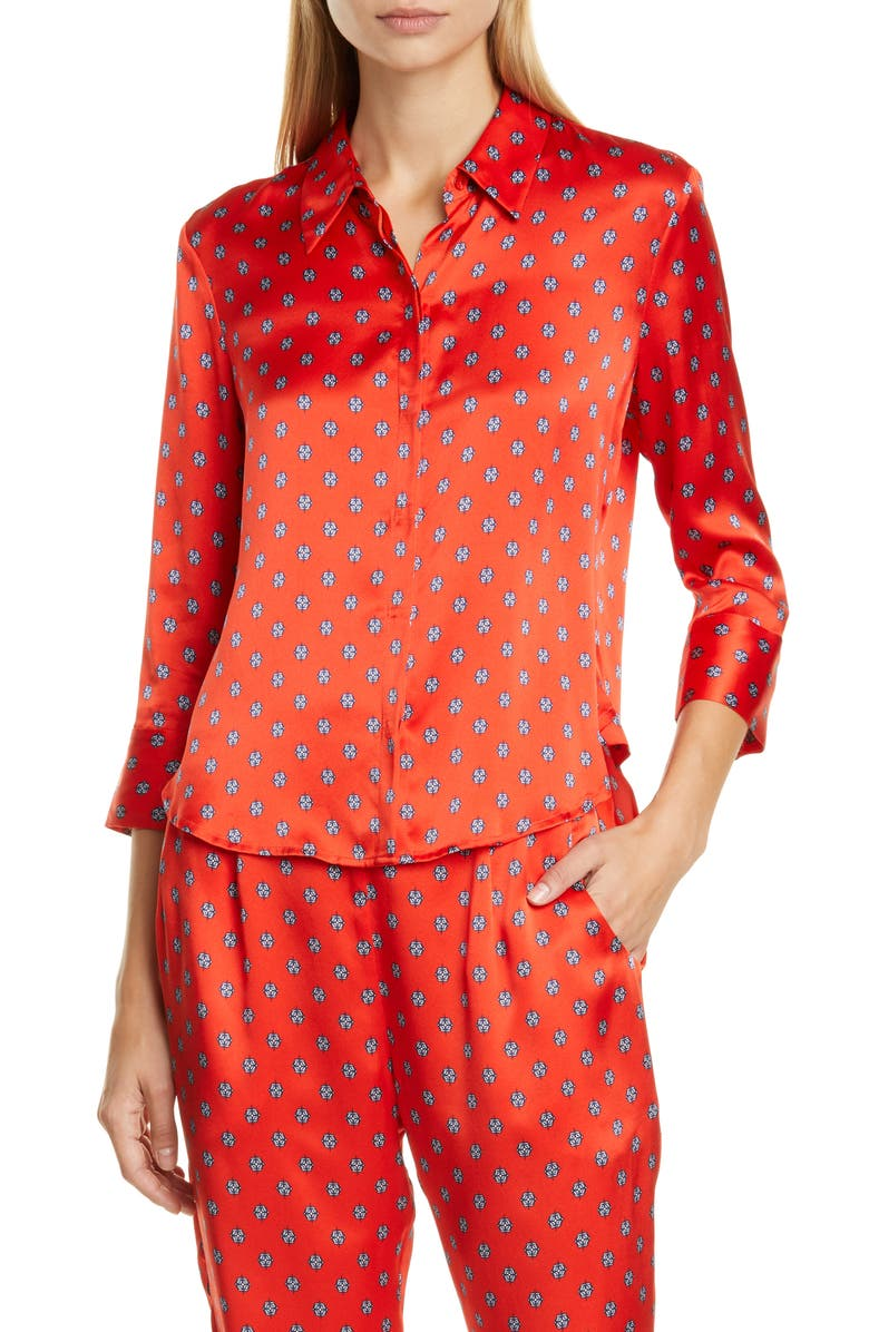 L'AGENCE Jil Print Silk Satin Blouse, Main, color, ROYAL RED MULTI MAESTRO