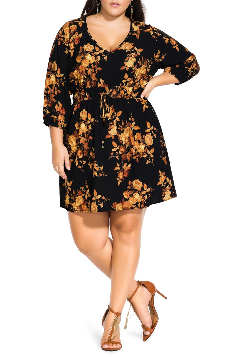 CITY CHIC Golden Floral Dress, Main, color, GOLDEN FLORAL