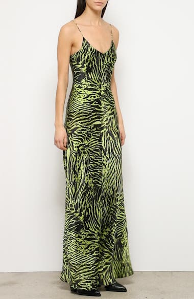 Tiger Print Silk Satin Gown, video thumbnail