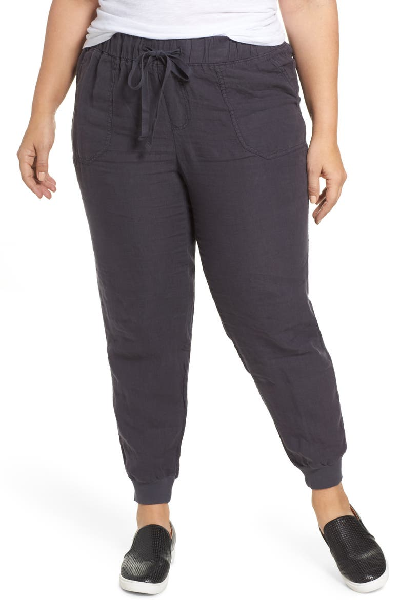 CASLON<SUP>®</SUP> Drawstring Linen Joggers, Main, color, GREY EBONY