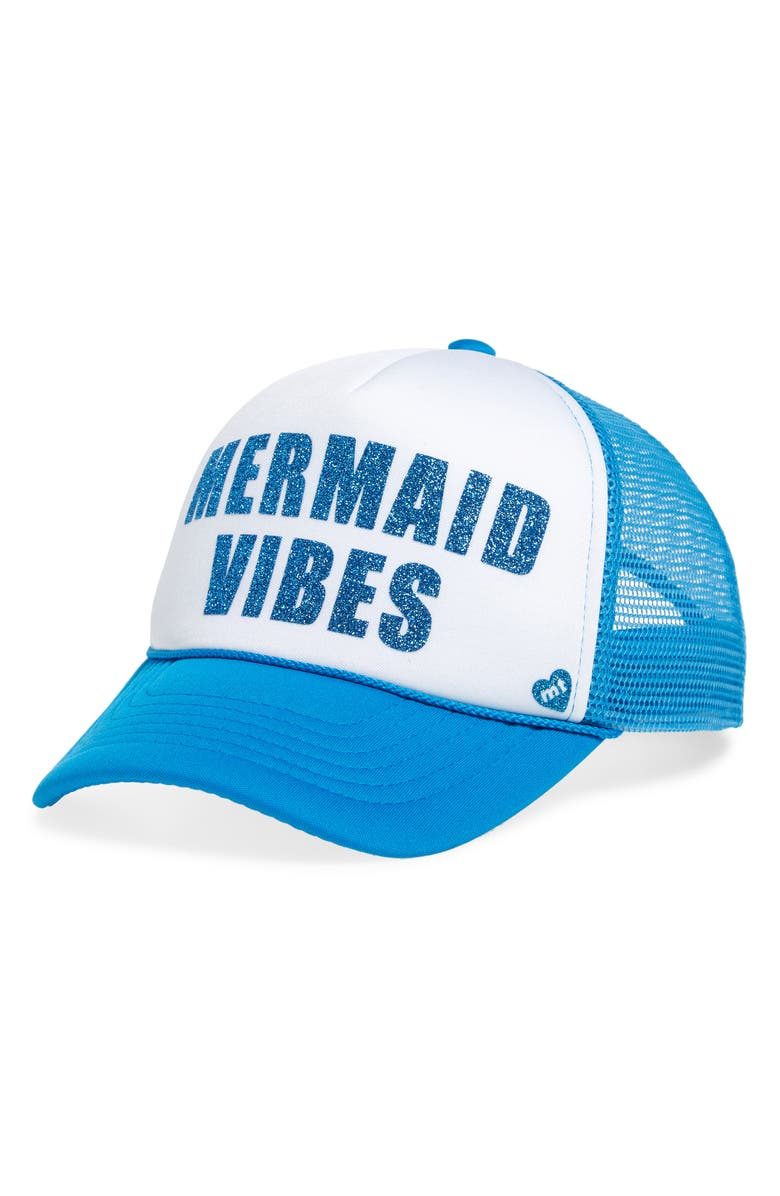 MOTHER TRUCKER & CO. Mermaid Vibes Trucker Hat, Main, color, TURQUOISE/ WHITE